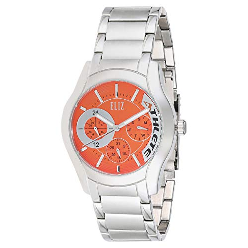 ELIZ men's Orange Dial stainless steel case and Band Analog Watch  ES10-8342G-SA 1