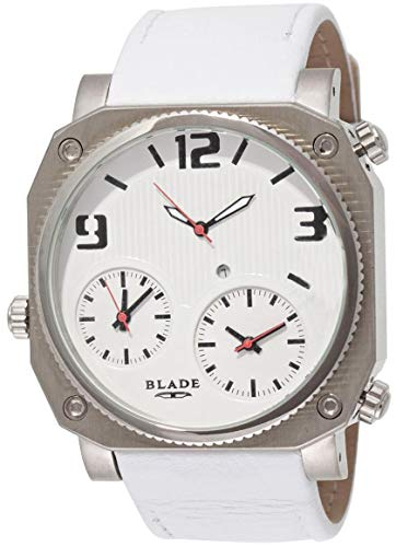 Blade Men's Multi Time White Dial Leather Strap Watch 10-3178G-SWWr 1