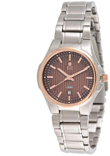 ELIZ Women's Brown Dial Rose Gold Plated Bezel STAINLESS STEEL WATCH 15-8127L-SRO 1