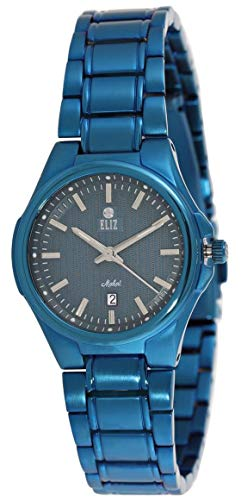ELIZ women's Black Dial Ionic Blue Plated Stainless steel Analog Watch 45-8127G-BL 1