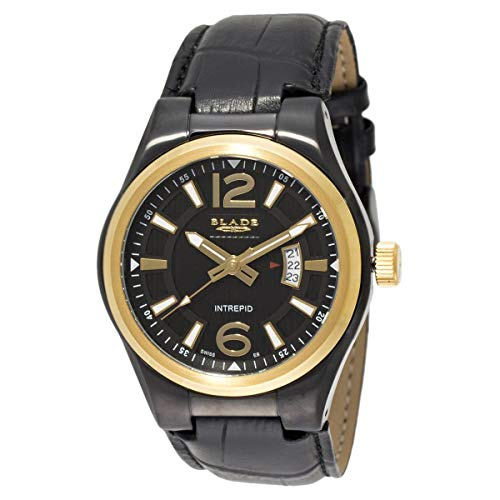 Blade Men's Black Dial and Case Gold Bezel Black Leather Strap Analog Watch 50-3362G-NNG 1