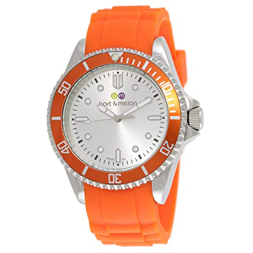 Bart & Melon Unisex White Dial Orange Silicon Band Analog Watch 12-NU010-SWA