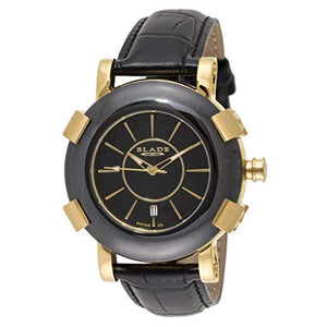 Blade Mens 21K Gold Plated Stainless Steel Case With Ceramic Bezel Black Leather Strap Analog Watch 20-3262G-GNN 1