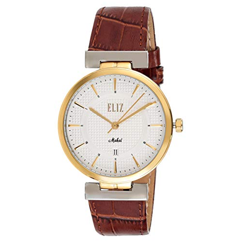 ELIZ men's White Dial Two-Tone Gold Plated stainless steel case Brown Genuine Leather Analog Watch ES10-8322G-TGW 1
