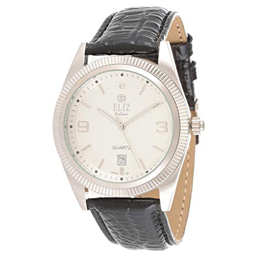 ELIZ men's White Dial  Black Leather Strap stainless steel case Watch ES10-7681G-SWN 1