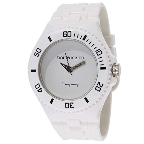 Bart & Melon Men's White Dial Polycarbonate Case Polyurethane Strap Analog Watch 11-NG005-White