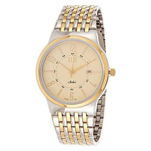 ELIZ Men's Two Tone Gold Stainless Steel Analog Watch - ES20-8022G-TC 1