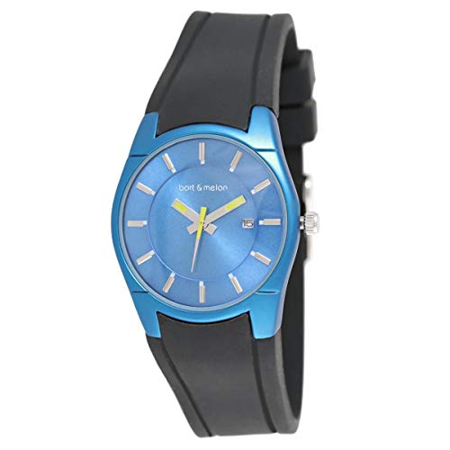 Bart & Melon Womens Blue Dial and Case Black Silicon Band Analog Watch 12-DL007-BN