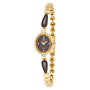 ELIZ Women's Black Dial Gold Plated Casual Watch - ES25-8289L-GN 1