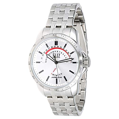 ELIZ men's White Dial stainless steel case and Band Analog Watch  ES10-8345G-SW 1