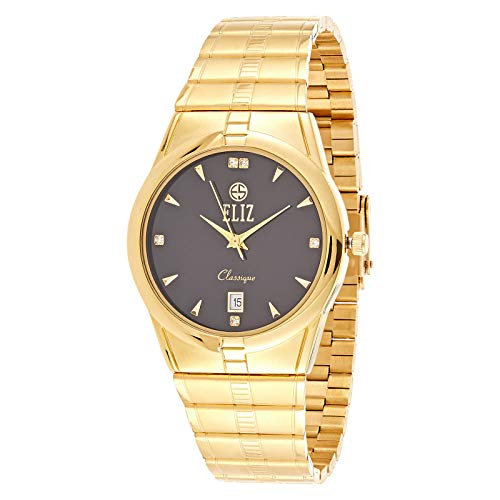 ELIZ Men's Gold Plated Metal Band Analog Watch - ES20-8298G-GN 1