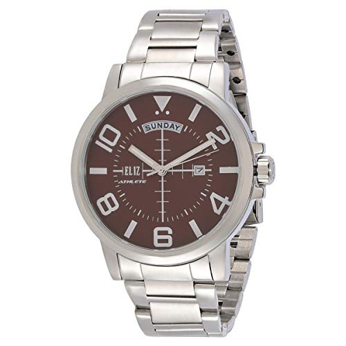 ELIZ men's Brown dial stainless steel case and band Analog Watch ES10-8173G-SO 1