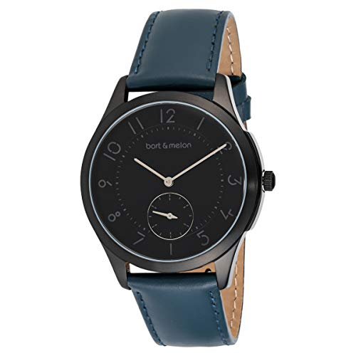 Bart & Melon Unisex Black Dial Blue Leather Band Analog Watch 15-DG013-2NNB