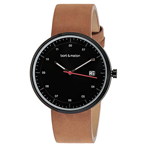 Bart & Melon Unisex Black Dial Brown Leather Band Analog Watch 15-DG015-2NNO