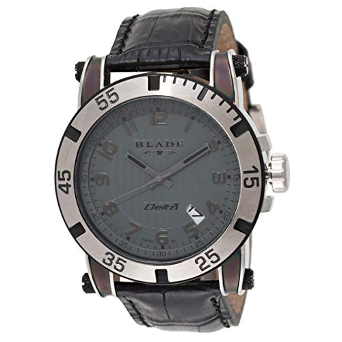 Blade Men's Grey Dial Date Window Black Leather Strap Watch 10-3322G-TN 1