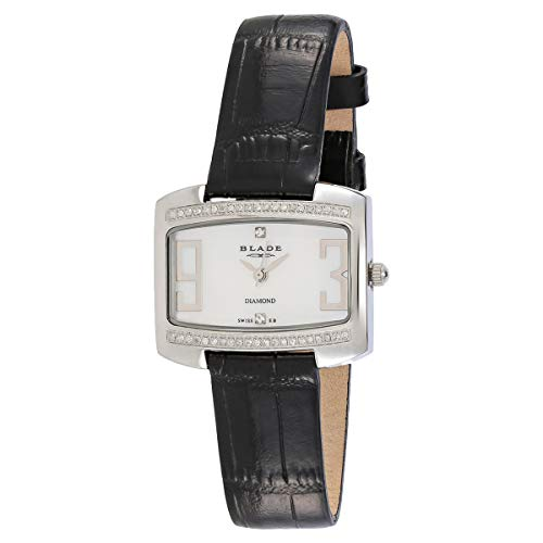 Blade Women's Mother of Pearl Dial Black Leather Strap Analog Watch 2441L-SHN 1
