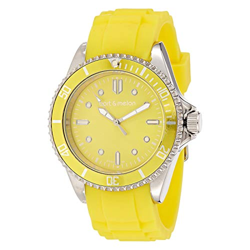 Bart & Melon Unisex Yellow Dial Yellow Silicon Band Analog Watch 12-NU010-SYY