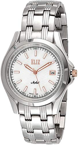 ELIZ men's white dial stainless steel case and band Watch ES10-8032G-SWR 1