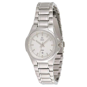 ELIZ Women's White Dial Stainless steel Analog WATCH 15-8127L-SS