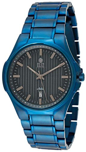 ELIZ men's Black Dial Ionic Blue Plated Stainless steel Analog Watch 40-8127G-BL 1