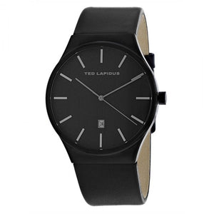 Ted Lapidus Men's Black Dial Leather Strap Watch - 5131703