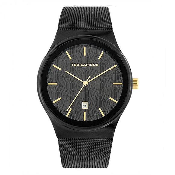 Ted Lapidus Men's Black Dial Milanese Mesh Band Watch - 5131803