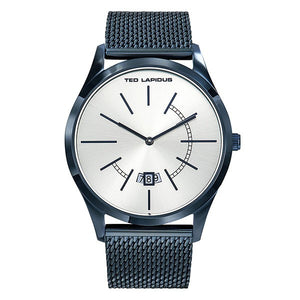 Ted Lapidus Mens Silver Dial Blue Plated stainless Steel Watch 5132302