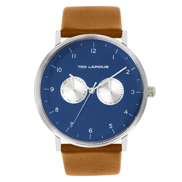 Ted Lapidus Men's Blue Dial Brown Leather Strap Watch - 5132802