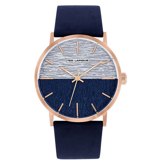 Ted Lapidus Men's Blue Dial Leather Strap Watch - 5132904