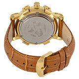 Blade Mens 21K Gold Plated Stainless Steel Case With Ceramic Bezel Brown Leather Strap Analog Watch 20-3262G-GNO 3