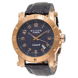 Blade Men's Blue Dial Leather Strap Rose Gold Stainless Steel Case Analog Watch 30-3322G-RBB 1