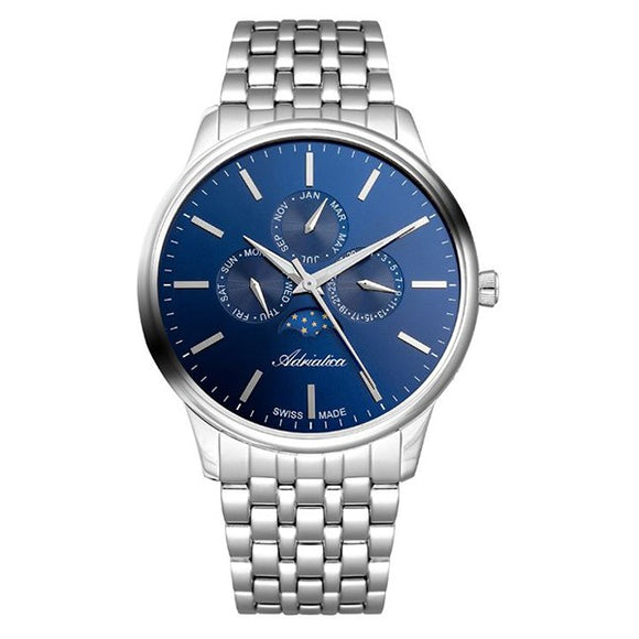 Adriatica Swiss Made Mens Blue Dial Stainless Steel Watch A8262.5115QF