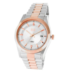 Eliz Men's Silver dial Two-Tone Rose Gold plated stainless steel case and band Analog Watch ES8332G2USU 1