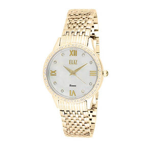 Eliz women's Mother of pearl Dial Gold plated stainless steel case and back Analog Watch ES8518L2GHG