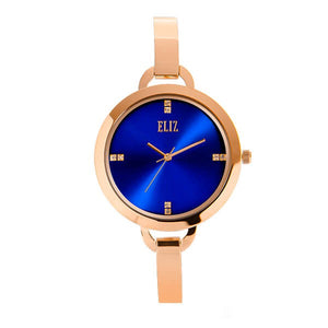 Eliz women's Blue Dial Rose gold plated case and Band Analog Watch ES8539L2RBR 2