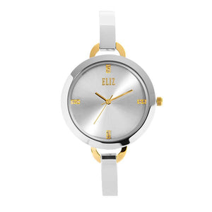 Eliz women's Silver Dial gold and silver plated case and Band Analog Watch ES8539L2TWT