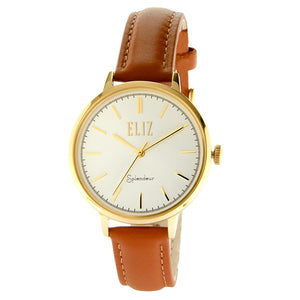 Eliz Women's White Dial Gold plated stainless steel case Brown Genuine leather strap Analog Watch ES8606L1GWO