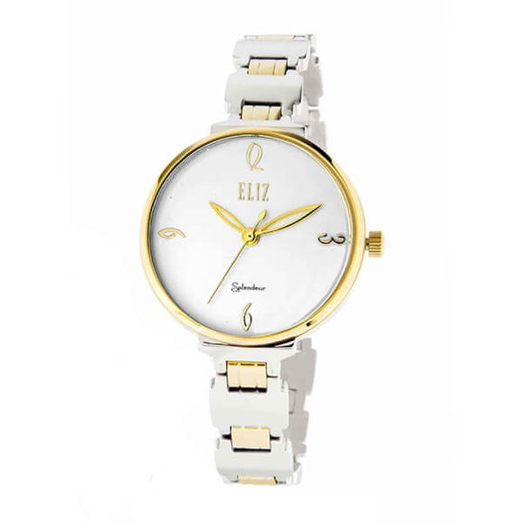 Eliz Women's White Dial Two-Tone Gold plated stainless steel case and Band Analog Watch ES609L1TWT