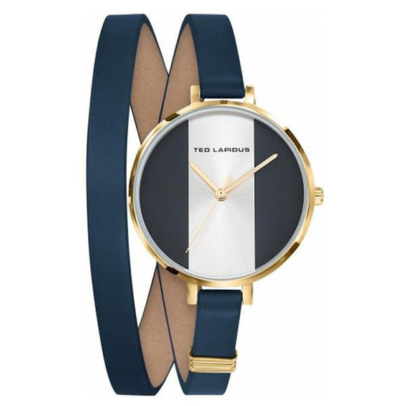 TED LAPIDUS Womens Blue and white Dial Genuine Leather Strap Watch - A0740PDMC