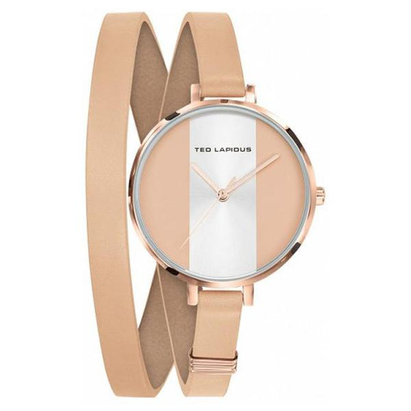 TED LAPIDUS Womens Pink and white Dial Genuine Leather Strap Watch - A0740URMR