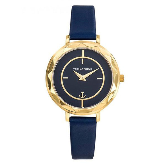 TED LAPIDUS Womens Blue Dial Genuine Leather Strap Watch - A0741PDIC