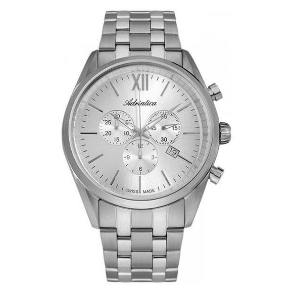 Adriatica Swiss-Made Mens Stainless Steel Chronograph Watch - A8204.5163CH