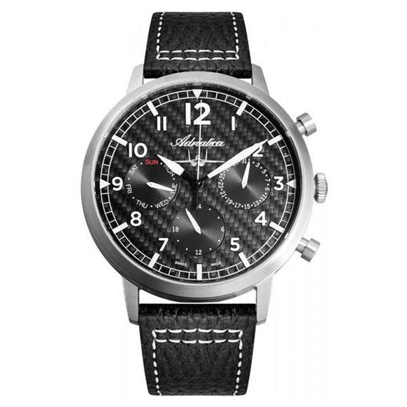 Adriatica Swiss-Made Mens Leather Chronograph Watch - A8261.5224QF