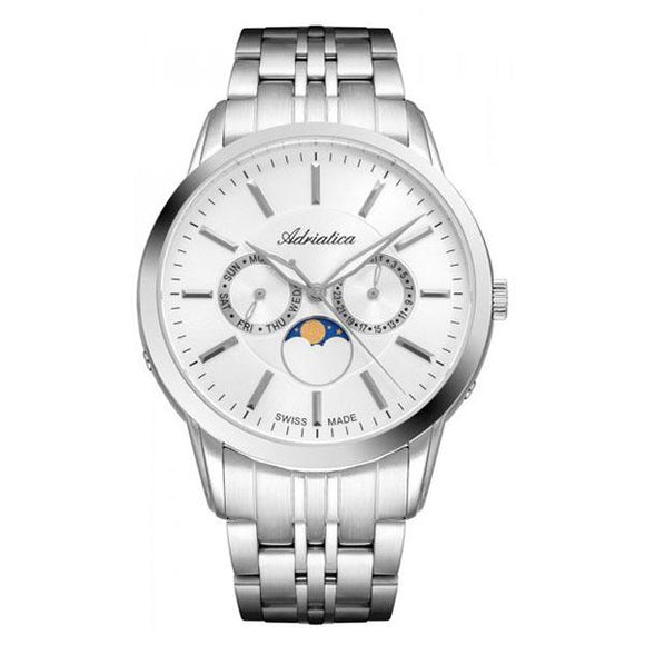 Adriatica Swiss-Made Mens Stainless Steel Multifunction Watch - A8306.5113QF