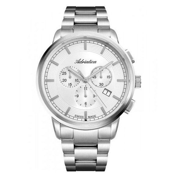 Adriatica Swiss-Made Mens Stainless Steel Chronograph Watch - A8307.5113CH