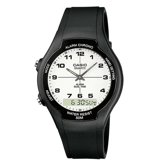 Casio Analog Digital White Dial Resin Band Watch - AW-90H-7B