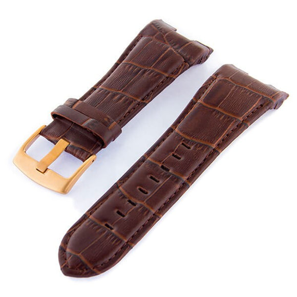 Blade Men's 27mm Brown Leather Watch Strap, Rose Gold Top