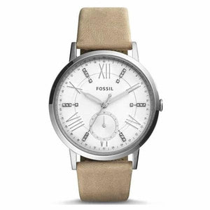 Fossil Women's White Dial Leather Strap Analog Watch - ES4162