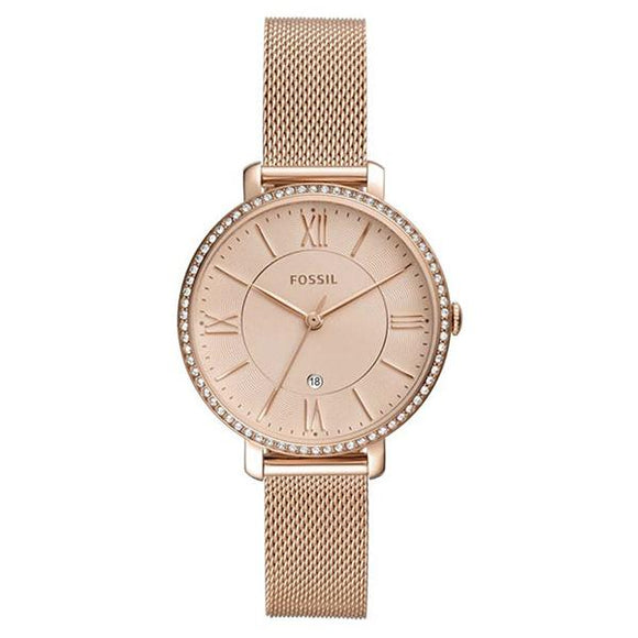 Fossil Women's Rose Gold Stainless Steel Mesh Band Analog Watch ES4628