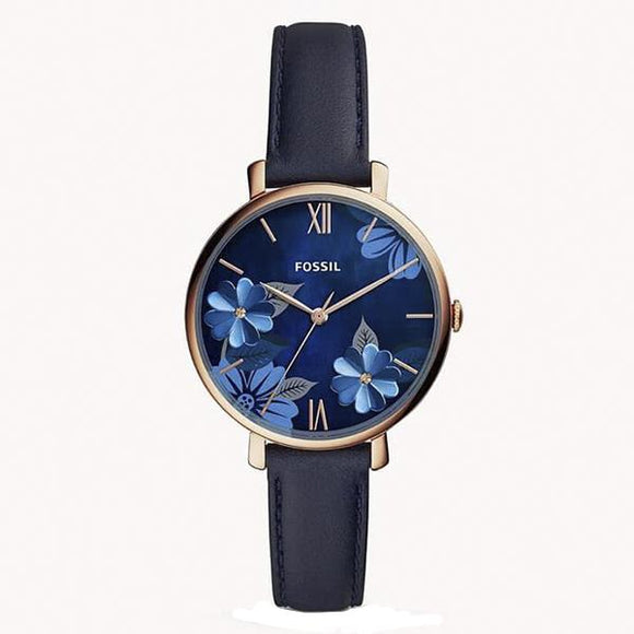 Fossil Women's Blue Dial Leather Strap Analog Watch - ES4673